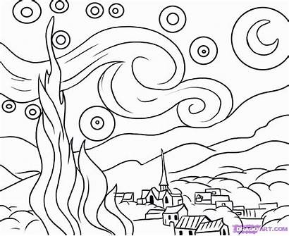 Starry Night Coloring Popular