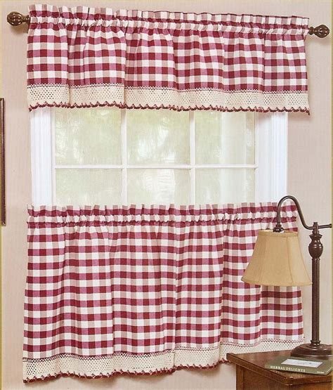 buffalo check curtains tiers valance sage achim