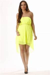 joli robe en voile jaune fluo avec ceinture dore mode With robe jaune fluo