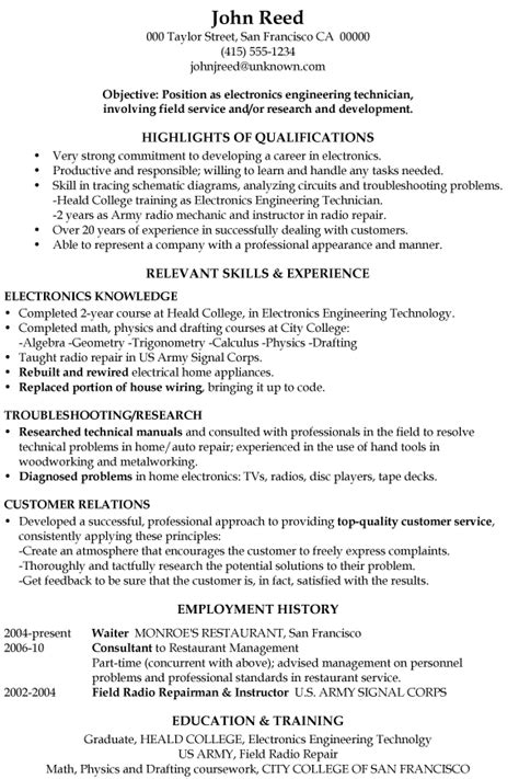 resume sle electronics engineering technician