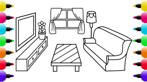 draw  living room  kids coloring pages
