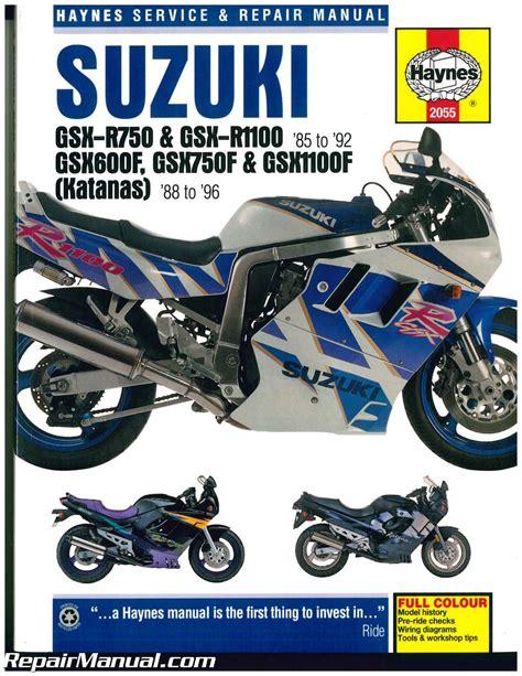 suzuki gsx r 750 gsx r 1100 1985 1992 katana 600 750 1100 1988 1996 haynes motorcycle repair manual