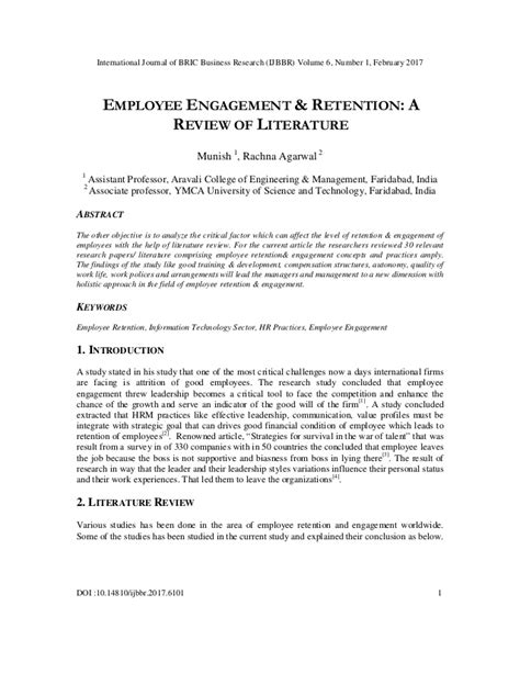 employee engagement retention  review  literature