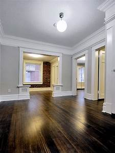 This is my ideal design dark wood floors thick white for White baseboards with wood floors