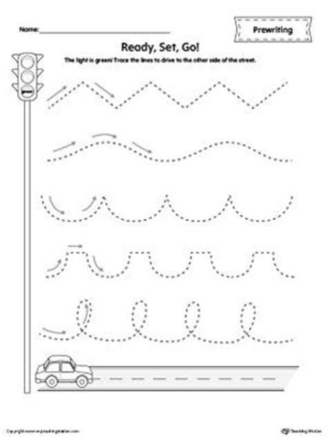 car racing  tracing prewriting worksheet pre writing