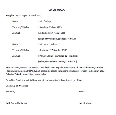 Contoh Surat Kuasa Pengambilan Berkas by Contoh Surat Kuasa Cabut Berkas Simak Gambar Berikut