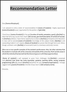 examples of letter of recommendation With free letter of recommendation template word