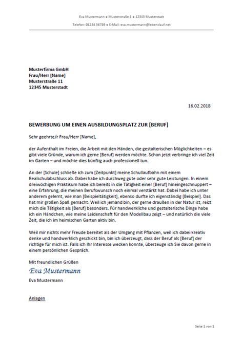 Bewerbungsvorlage Ausbildung by Bewerbungsschreiben Professionelle Vorlagen Muster 2019