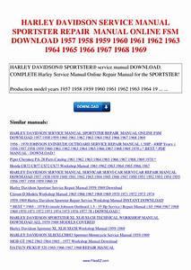 Harley Davidson Service Manual Sportster Repair Manual Fsm
