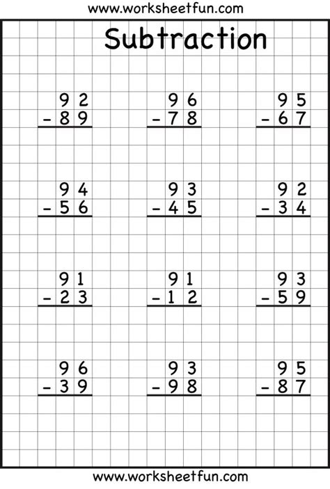 2nd grade math worksheet subtraction with borrowing 99 best images about subtraction regrouping on