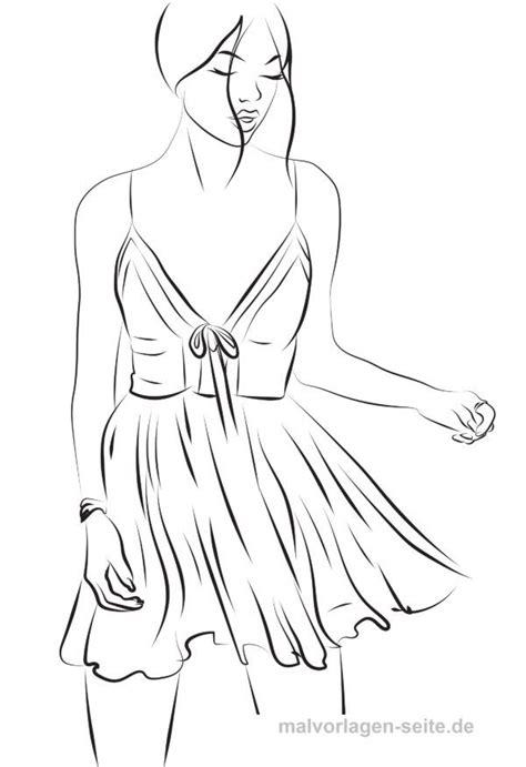 model ausmalen topmodel malvorlage kleid mit bildern