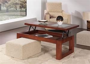 Petite Table Extensible : petite table basse relevable noyer la table basse ~ Teatrodelosmanantiales.com Idées de Décoration