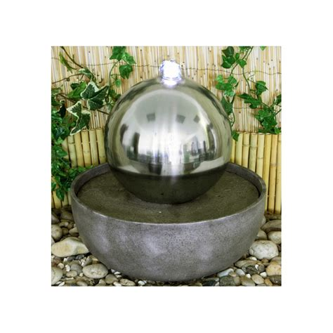strobe light water fountain 30cm eclipse stainless steel sphere water feature with led