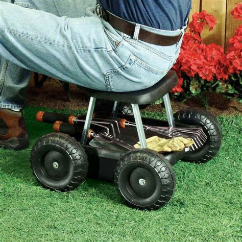 rolling garden scooter gardening stool pad plant seat w - Garden Stools With Wheels