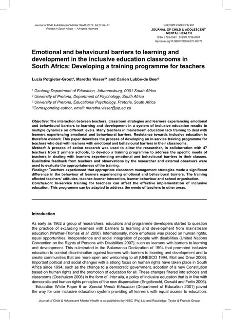 emotional  behavioural barriers  learning
