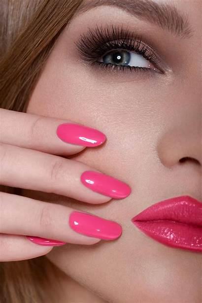 Nails Pink Lips Woman Gel Acrylic Makeup