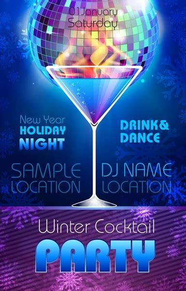 Romantic Club Cocktail Party Flyer Vector Free Vector In