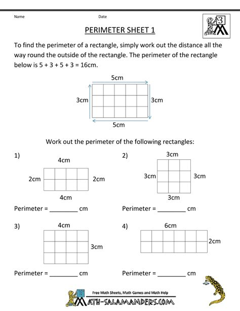 math salamanders  grade perimeter worksheets math