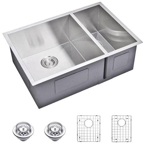 undermount ss kitchen sinks water creation undermount zero 27 in 0 bowl 6602