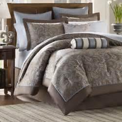 brown blue 12 piece luxury paisley bedding bed comforter set queen king cal king