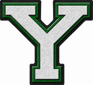 Presentation Alphabets: White & Green Varsity Letter Y