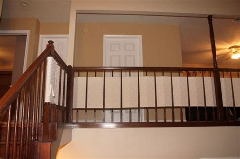 Banister Safety Guard by Baby Proof Your Banister With A Diy Fabric Banister Guard