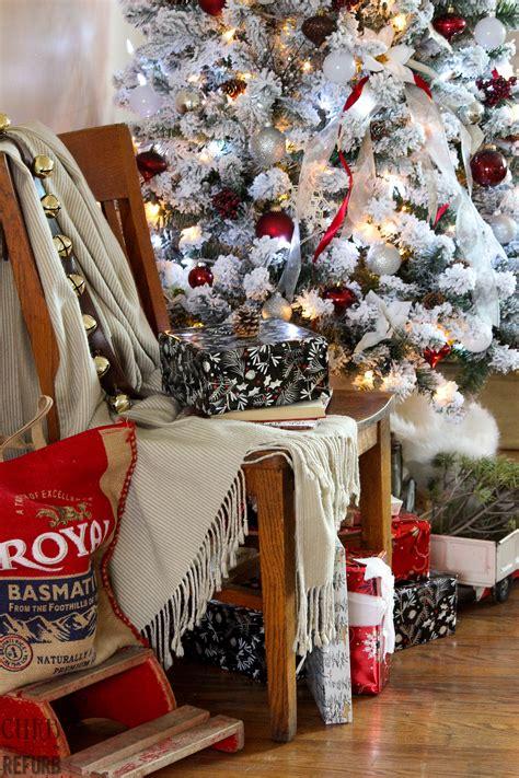 industrial chic christmas living room curb  refurb