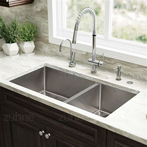 deep undermount kitchen sinks zuhne 32 inch undermount 60 40 deep double bowl 16 gauge