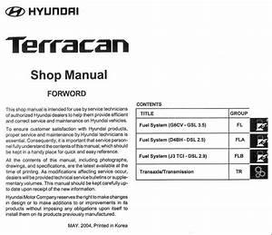 Hyundai Terracan 2005 Shop Manual  Ah1s  U2013 Eg11a