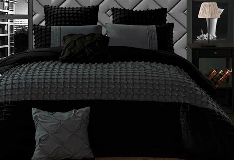cossette stone quilt cover set charcoal grey grid