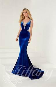 Tiffany Designs 16268 Long Fitted Velvet Prom Dress