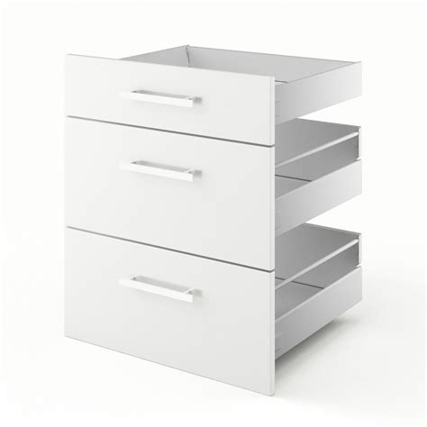 tiroirs de cuisine 3 tiroirs de cuisine blanc 3d60 délice l60 x h70 x p55 cm