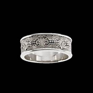 fleur de lis engraved design wedding band at graciousrosecom With fleur de lis wedding rings