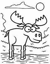 Moose Coloring Standing Cartoon Face Drawing Eyed Printable Zion Getdrawings Williams Getcolorings sketch template