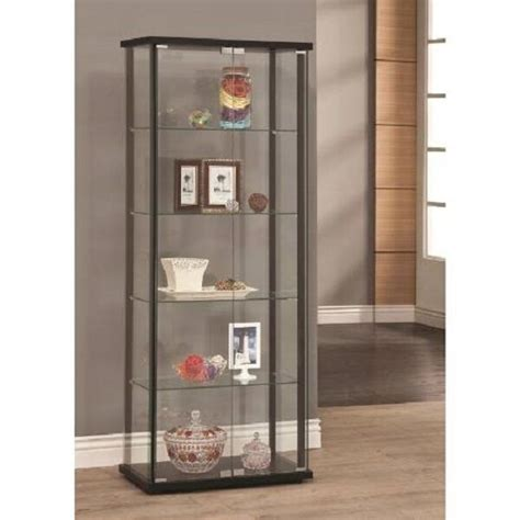 Contemporary Glass Display Cabinet by Modern Glass Curio Cabinet Tower 5 Shelf Display