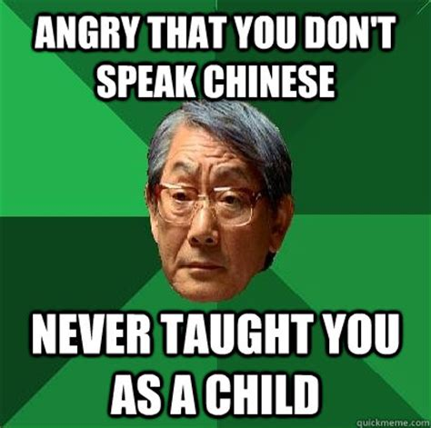 Angry Asian Meme - angry that you don t speak chinese never taught you as a child high expectations asian father