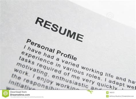 resume title page stock photography image 780372