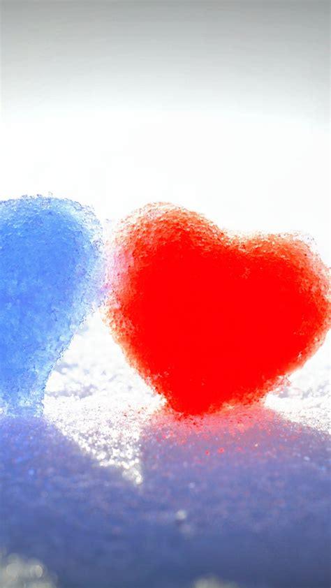 wallpaper love hearts frozen hearts blue red snow