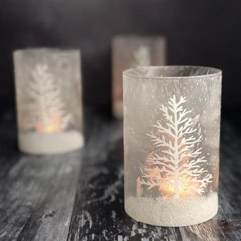 snow scene christmas candle holder