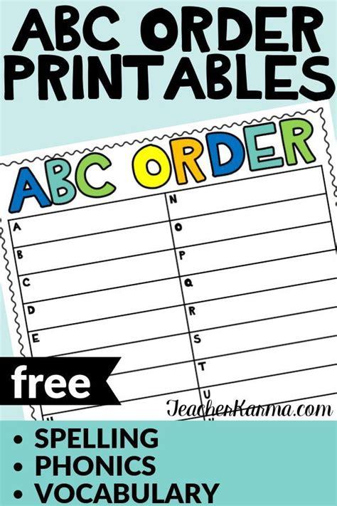 teaching abc order  important freebies