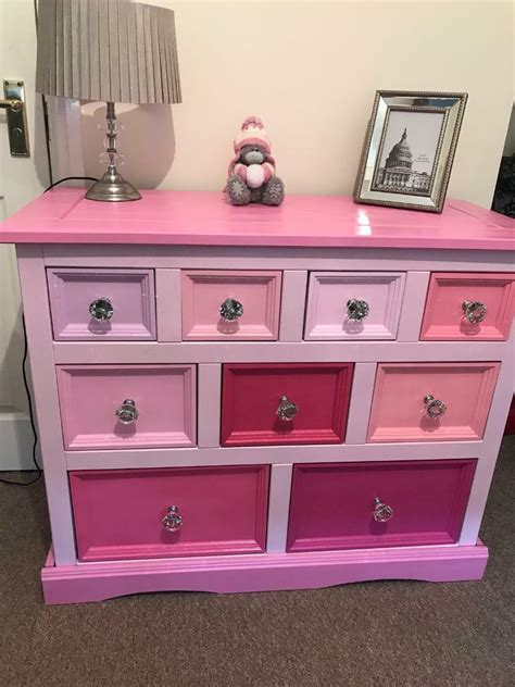 lovely pink set of 9 drawers sideboard glitter pinks