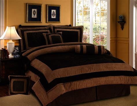 7 pieces chocolate brown suede short fur comforter set