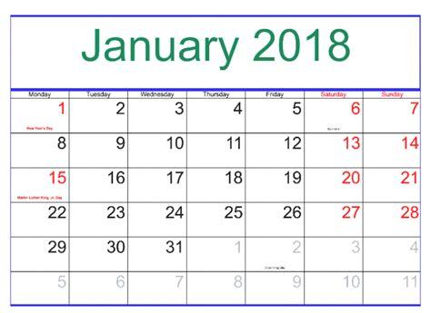 January 2018 Calendar Us Holidays