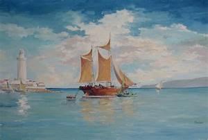 Marina Barca a vela in porto Olio su tela su legno 40x60cm Vendita di dipinti