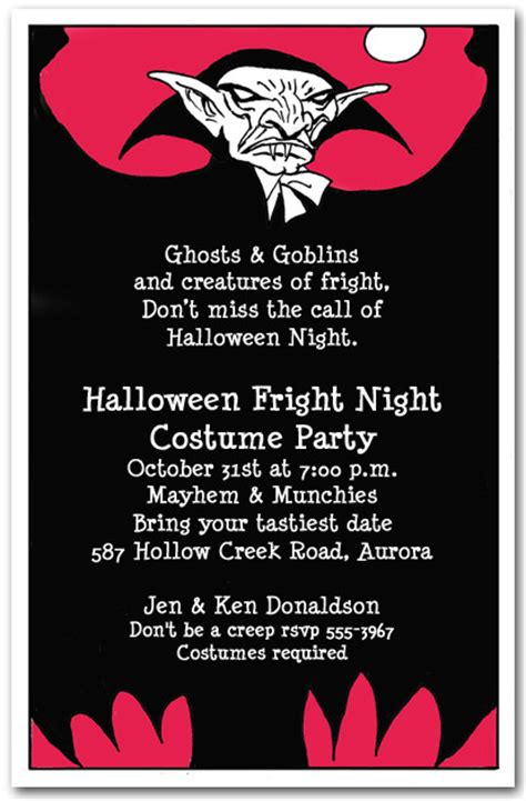 vampire scare halloween invitations
