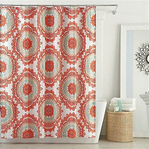 coral colored shower curtain coral grey light blue shower curtain bed bath and