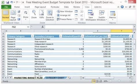 meeting event budget template  excel