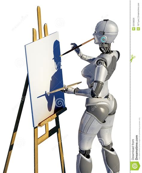 robot artist royalty  stock images image