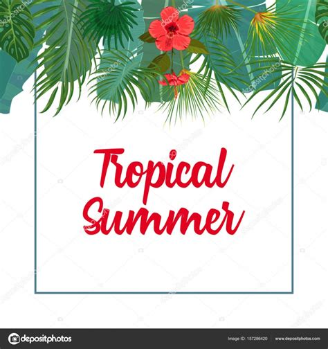 Tropical Poster Template by Hand Drawn Tropical Palm Leaves And Jungle Exotic Flower