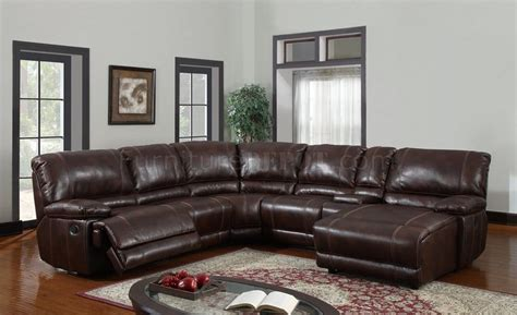 leather reclining sectional u1953 6pc reclining sectional sofa in brown bonded leather